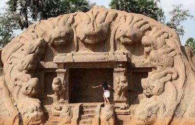 Tiger Cave in Mamallapuram, Tamil Nadu.