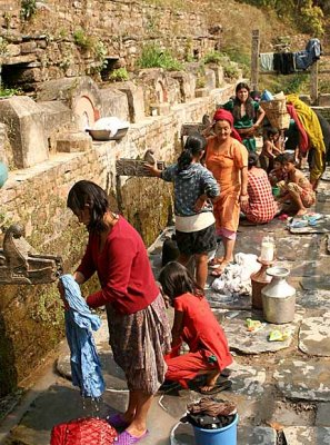 Public watering place in Bandipur, Nepal.