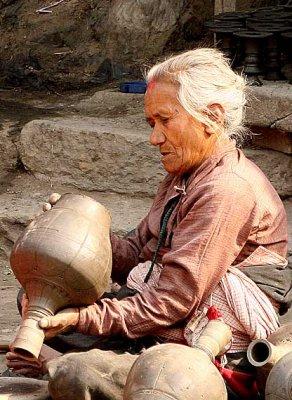 Potter in Bhaktapur, Nepal.