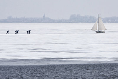 Ice sailing in Holland, Gouwzee Netherlands 2010