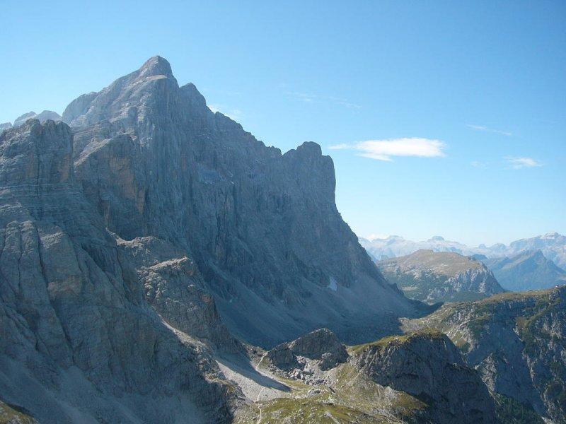 Zicht vanaf top op noordwestwand Civetta