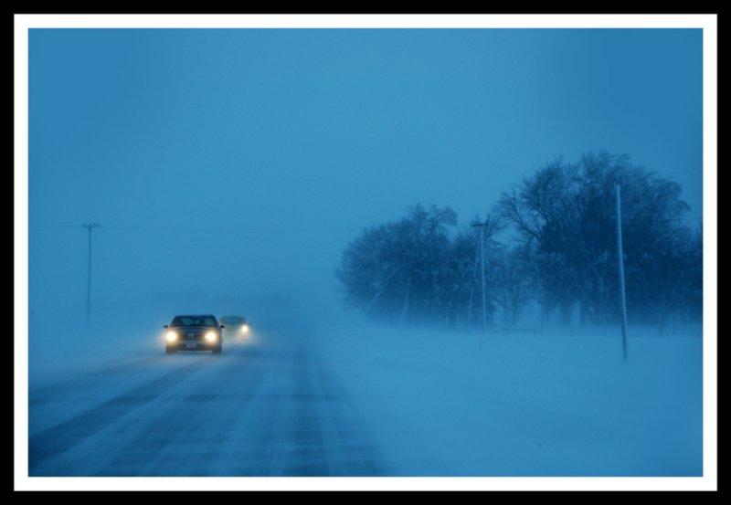 Driving through an Iowa Snowstorm