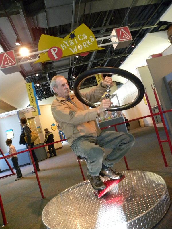 Mike driving the Gyro-Bike