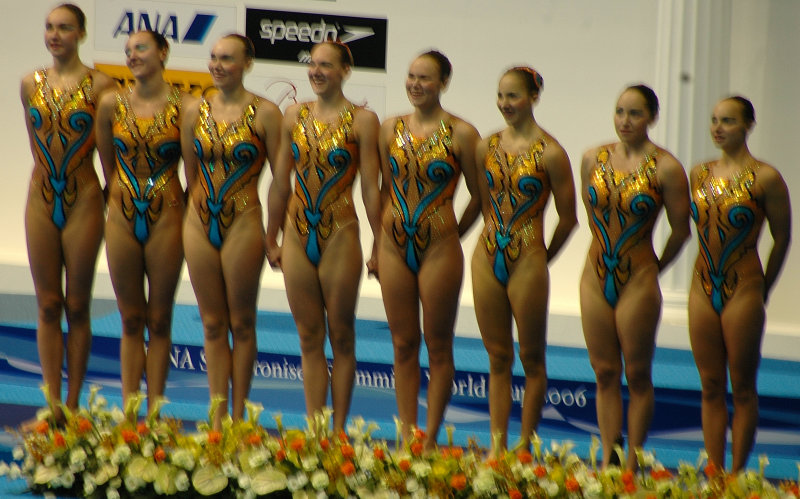 The Winning Russian Team immediatly after ending their routine