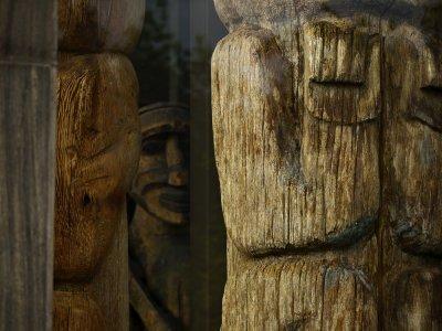 Ancient figures, Royal British Columbia Museum, Victoria, British Columbia, Canada, 2009