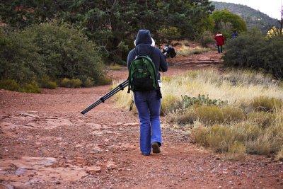 Carrying the gear, Sedona, Arizona, 2009