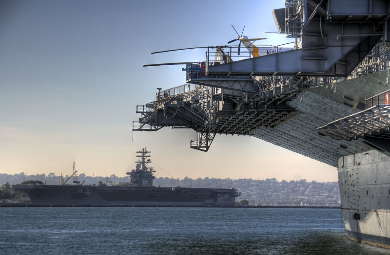 uss midway (cv-41) with the uss nimitz (cvn-68) in the background - san diego (12/07)
