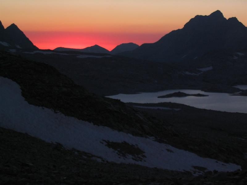 Sunset  from Muir Pass and the night begins