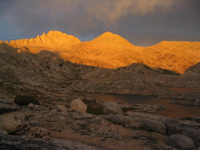 Feather Peak over V lake sunset. in Bear Basin