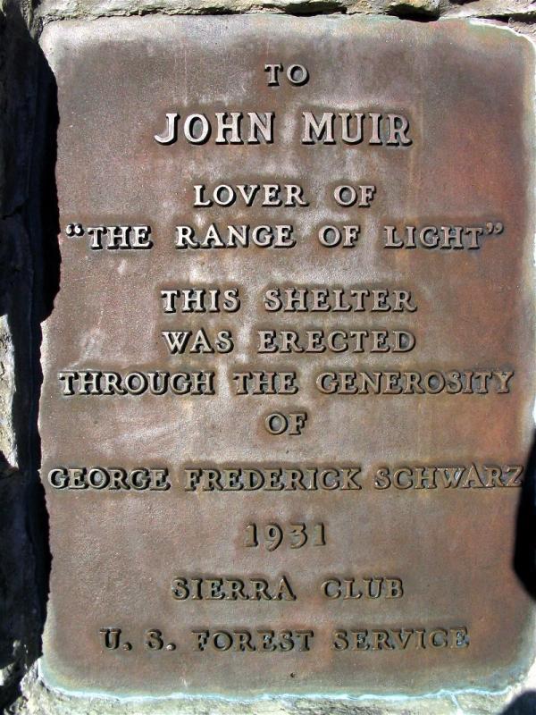 Plaque on the John Muir Shelter Memorial on Muir Pass