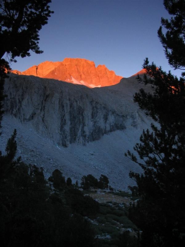Sunrise on north side of Forester Pass, at the last campsite sheltered with trees