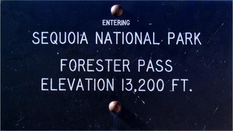 The highest trail sign on the highest pass of the Pacific Crest Trail: Forester Pass