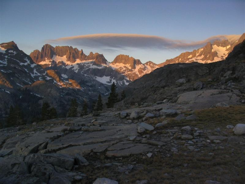 Sunrise highlights the Minarets near Shadow Lake
