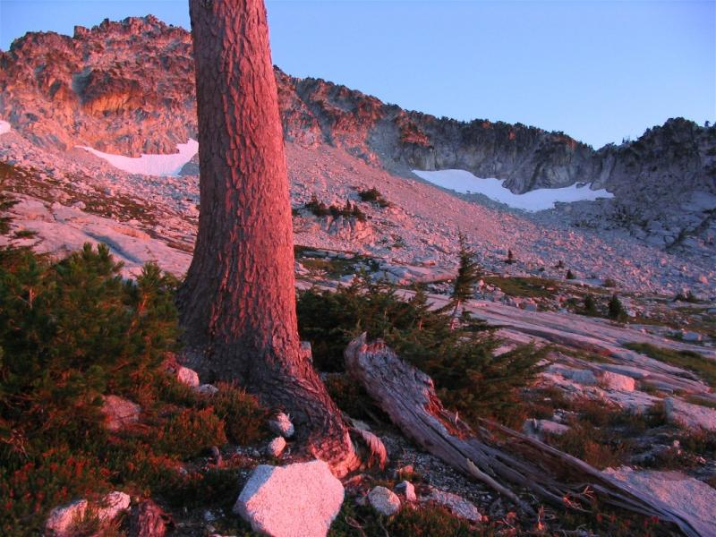 Alpen glows on an alpine landscape where few have ever been in the Trinity Alps