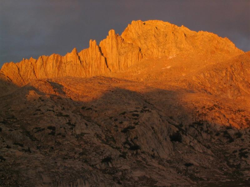 Feather Peak glowing at sunset in Bear Basin