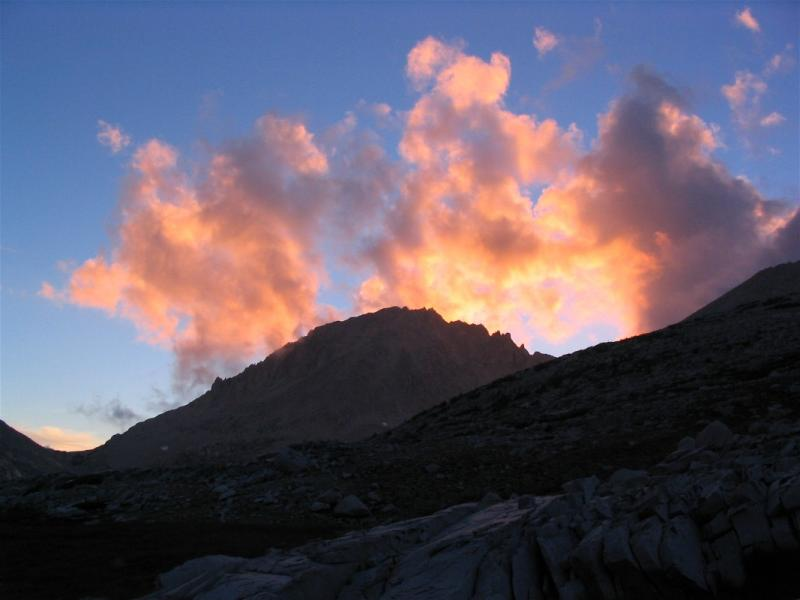 Clouds, light, sunset, rock, Mt Hilgard from camp on Lake Italy