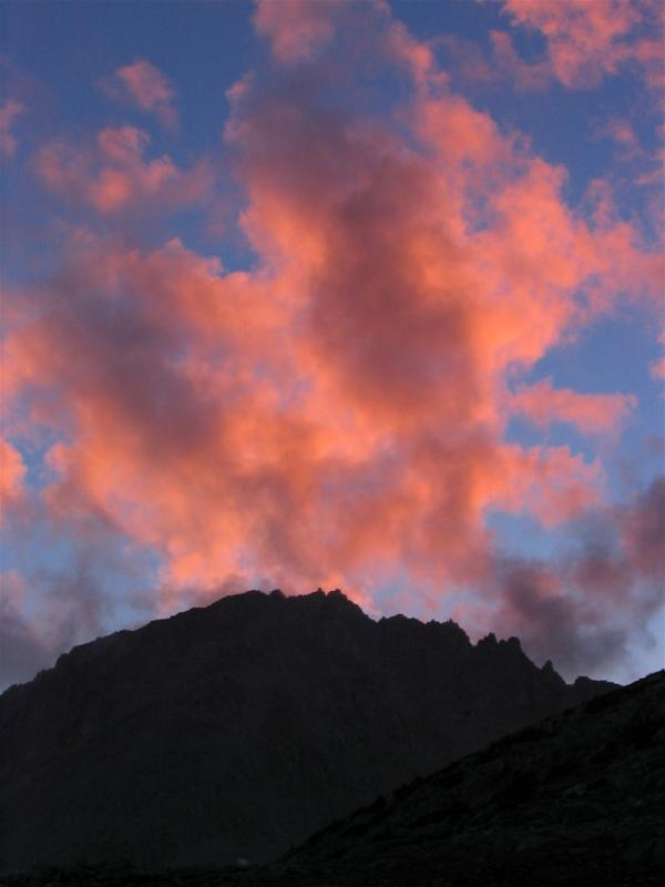 Alpenglow on clouds over Mt Hilgard