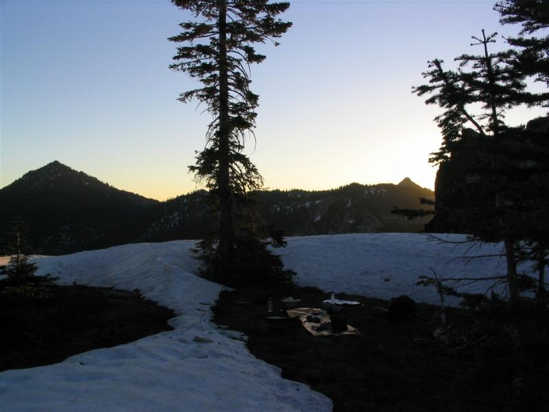 Russian peak on left, sunrise in camp on cirque rim