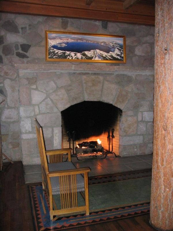 The  Crater Lake Lodges lobby fireplace