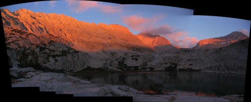 Lower Mills Lake panorama at sunset