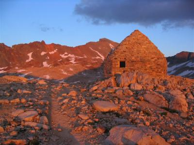 Muir Pass  Shelter as the sun sets in the west