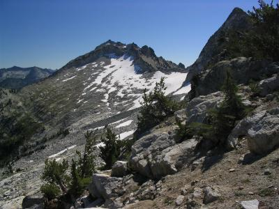 View from the saddle of Caesar and Thompson Peaks