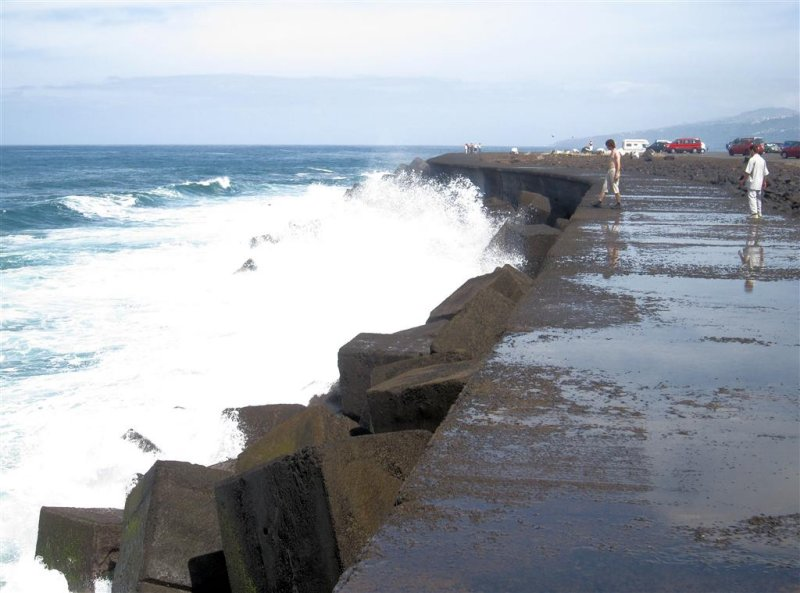 147 - Even Casper got soaken wet by one of these Atlantic waves splashing on the concrete wall...