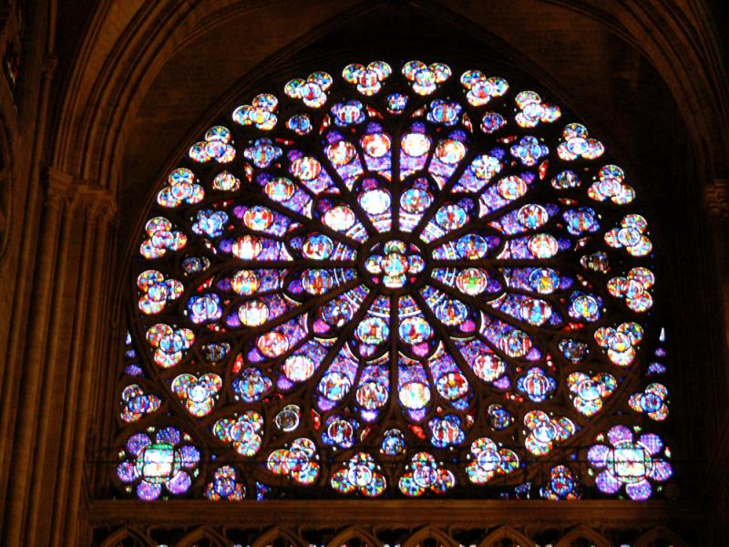 glass stained window in notre dame
