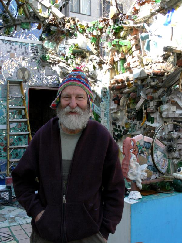 Isaiah Zagar in his garden
