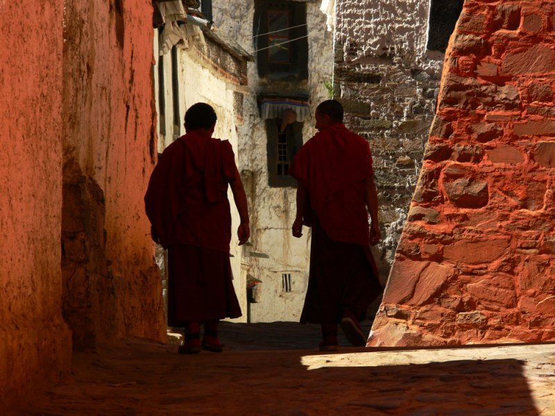 Two monks in Tashilhunpo Monastery