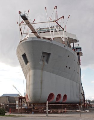 Large ship being worked on in Anacortes
