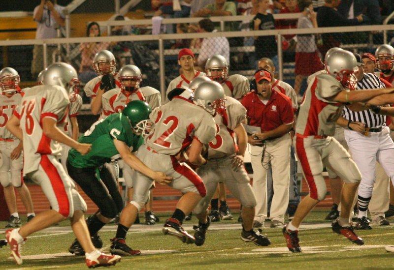 Dan Brhel makes a tackle