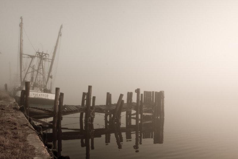 Pier & Boat in Fog