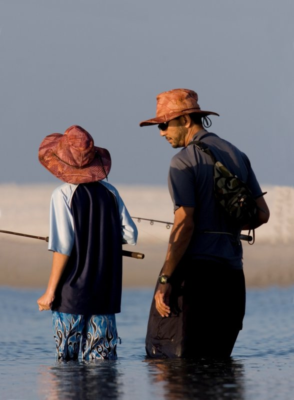 Wading Fishermen (Father & Son)