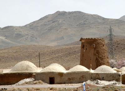Village with a watchtower on the Isfahan-Naein highway