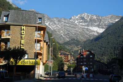 Main street of Arinsal with Pic de Medacorba (2913m) in the background