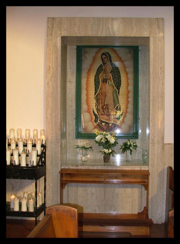 Virgin in side Our Lady of Lourdes in ELA.