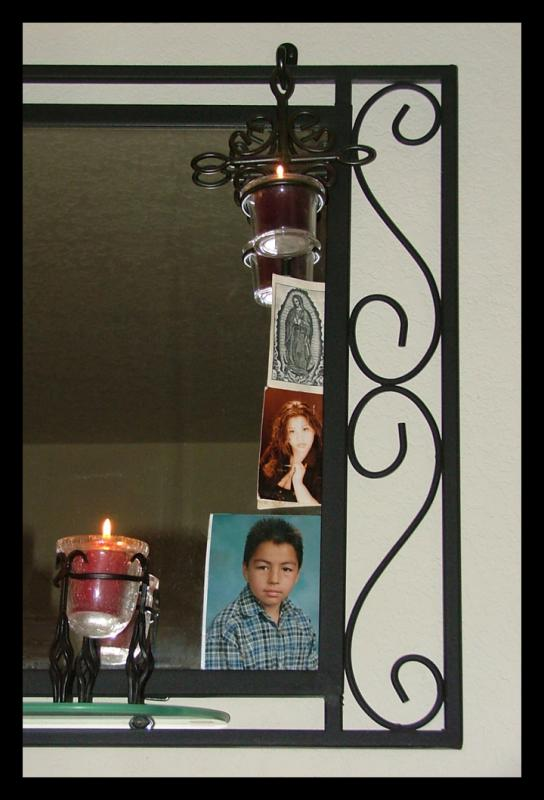 Virgin on my mirror guarding my son and daughter.