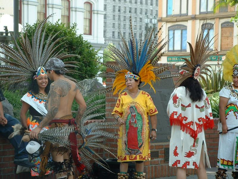 Aztec dancer with Vigen de Guadalupe