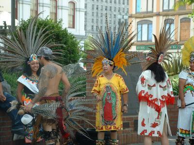 Aztec dancer with Vigen de Guadalupe