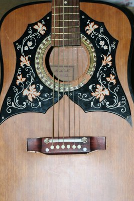 Vintage Kay acoustic front showing sound hole  bridge.jpg