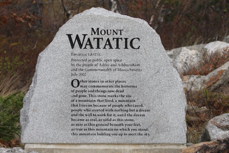 Nice tribute to those who worked hard to protect Mt. Watatic