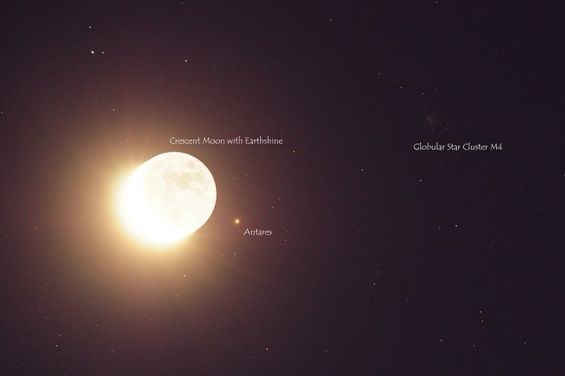 Moon & Antares with Labels