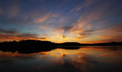 Sunset Reflection in Linn Creek Reservoir