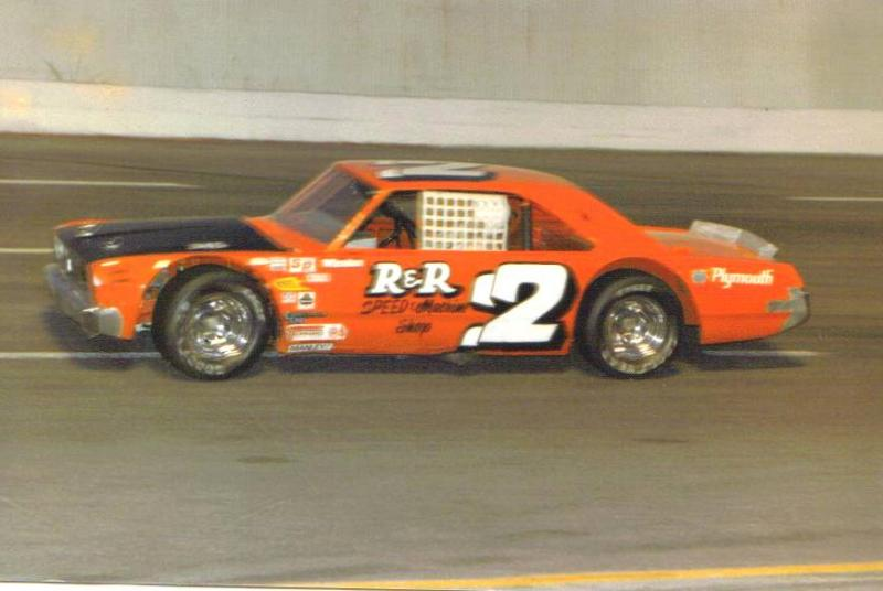 Nicky Formosa in his first late model stock car  ride at Nashville in the Charlie Chamblee #2 Plymouth 1987