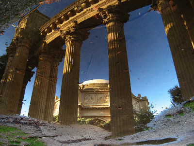 Rainy side up - peristyle and rotunda reflected