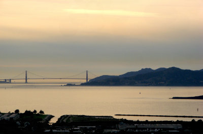 Closer zoom in on San Francisco Bay and bridge