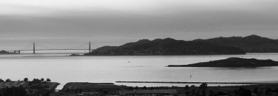 SF Bay and Bridge - B&W