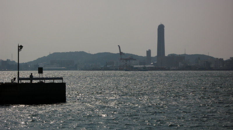 Pier with Shimonoseki skyline beyond
