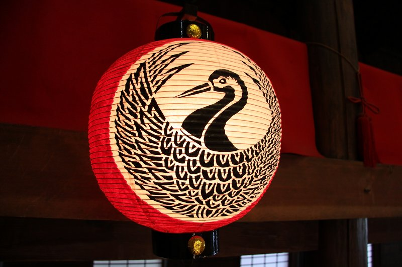 Paper lantern with crane image in the theater